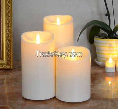 Outdoor Waterproof Plastic Led Moving Wick Flameless Led Candle With Timer And Remote