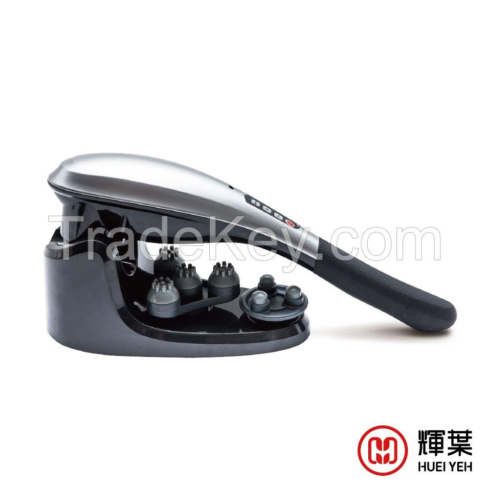 Wireless handheld massager with interchangeable massage heads