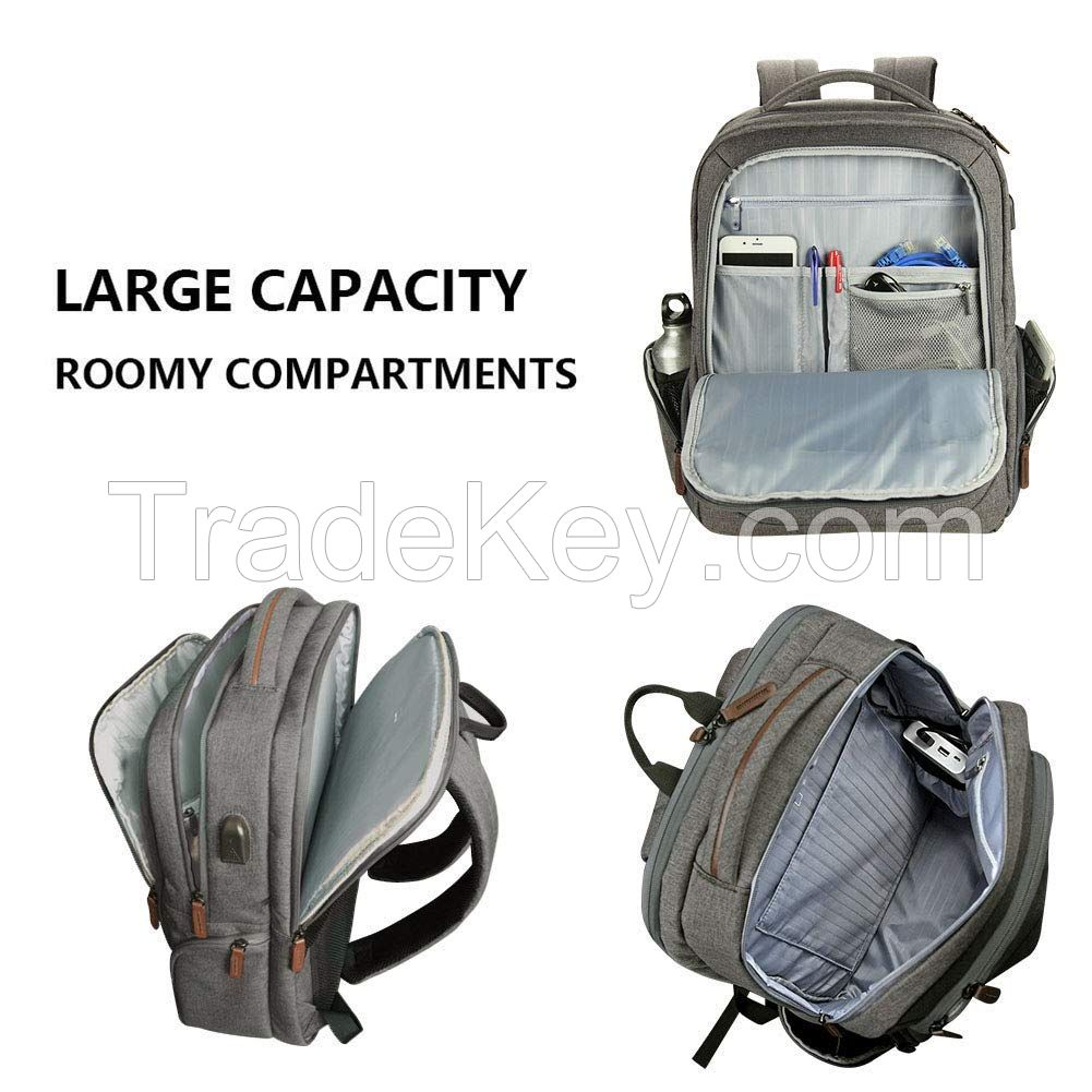 Laptop Backpack Large Computer Backpack for 15.6-17.3 Inch Laptop with USB Charging Port Water-Repellent School Travel Backpack Casual Daypack  Business/College/Women/Men-Grey