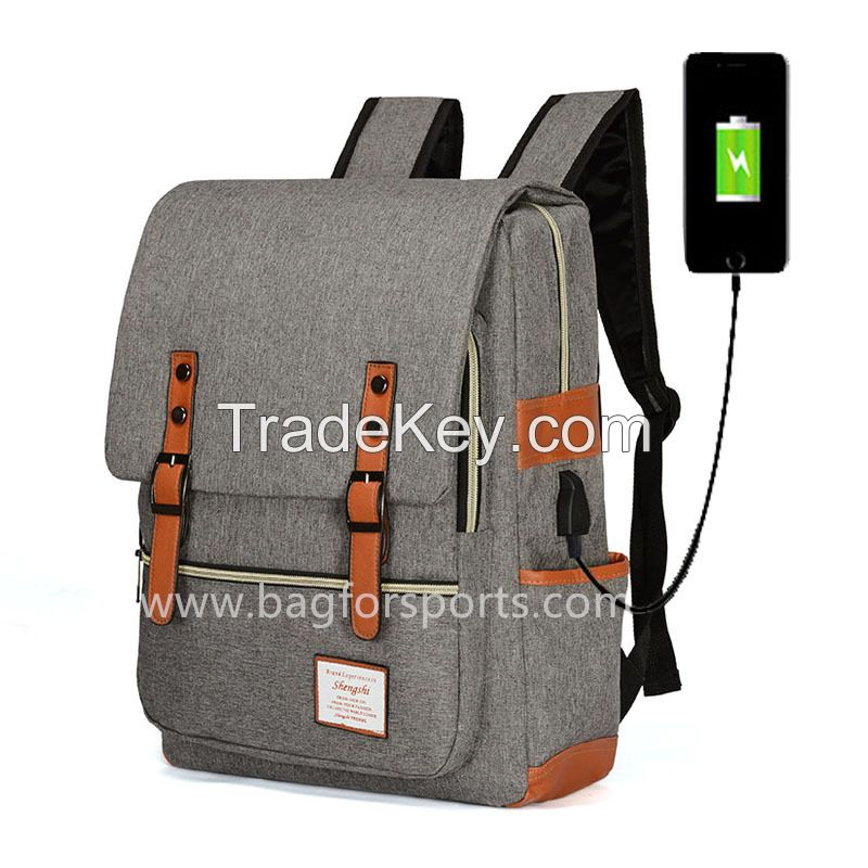 Vintage Laptop Backpack for Women Men,School College Backpack with USB Charging
