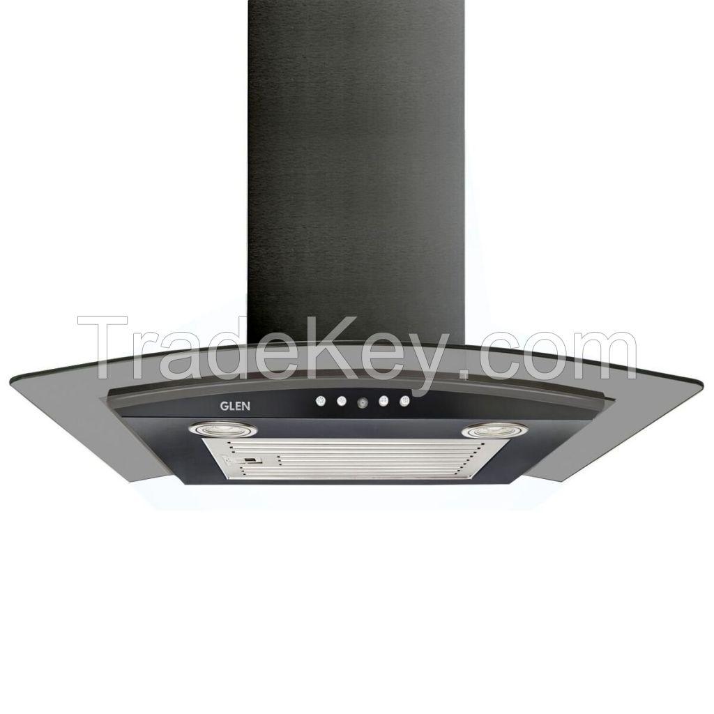 Glen 6071 EX Black Curved Glass Kitchen Chimney 60cm, Airflow 1000 m3/h