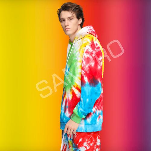 custom made Poly Cotton Tie dye hoodie short set