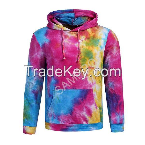 custom made Poly Cotton Tie dye hoodies