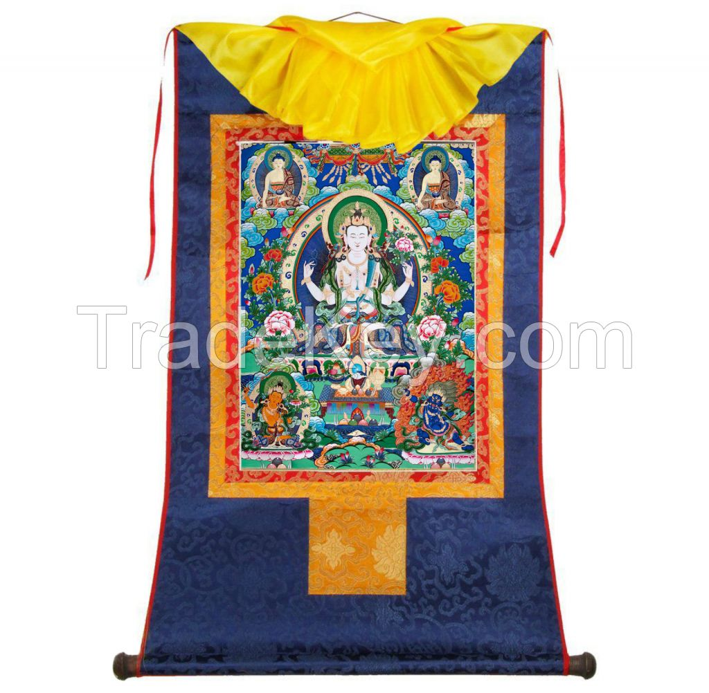 Buddhist holy gift Tangka decorative painting Tibetan four arms' Guanyin Kan-on KWAN-YIN high copy rolling pictures religious cultural gift