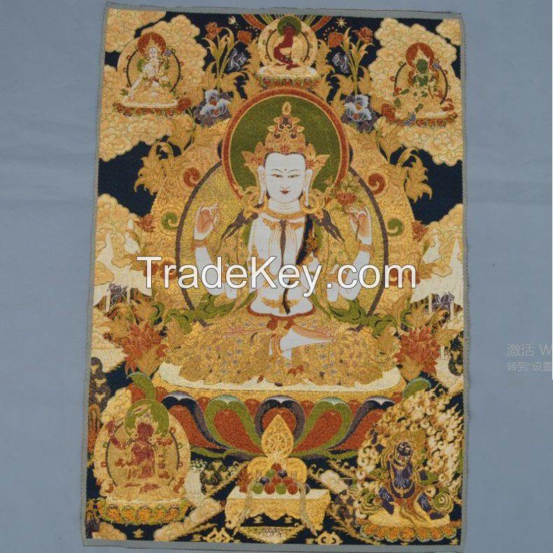 Tibetan and Nepal Buddhist The Trikala Buddhas Buddha Sambo Buddhas of Three Periods Buddha iii  Tangkar Tapestry Gobelin silk embroidered hanging painting decorative painting  pictures drawing