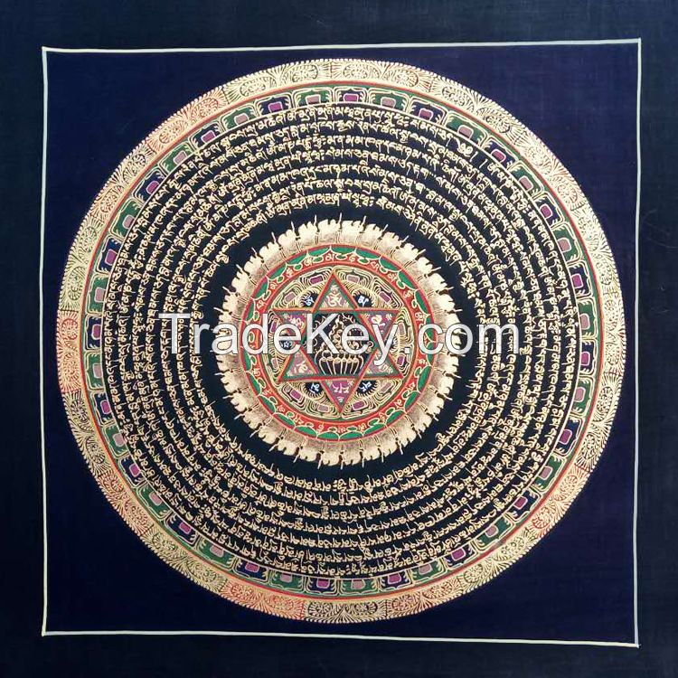Nepal Antique Six words Tibetan Buddhist Handmade Painting Tancheng Tangkar Guest room and reading room Alokhe Chenresi decorative painting Buddha hall drawing hanging picture