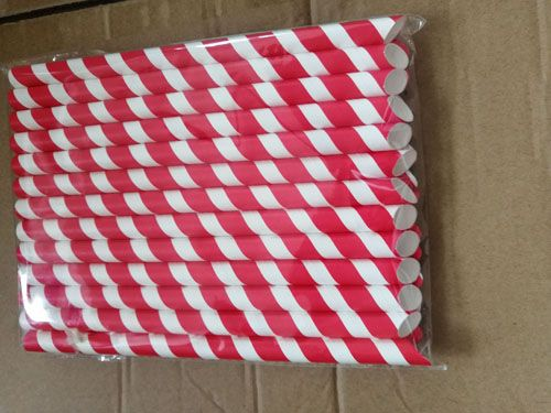 Ready Eco Friendly Diagonal Cut Boba Straws 12mm One Side Sharp Pointed Paper Straw
