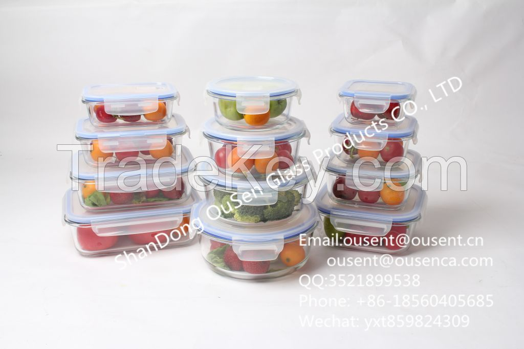 high borosilicate heat resistant glass food container (set of 5)