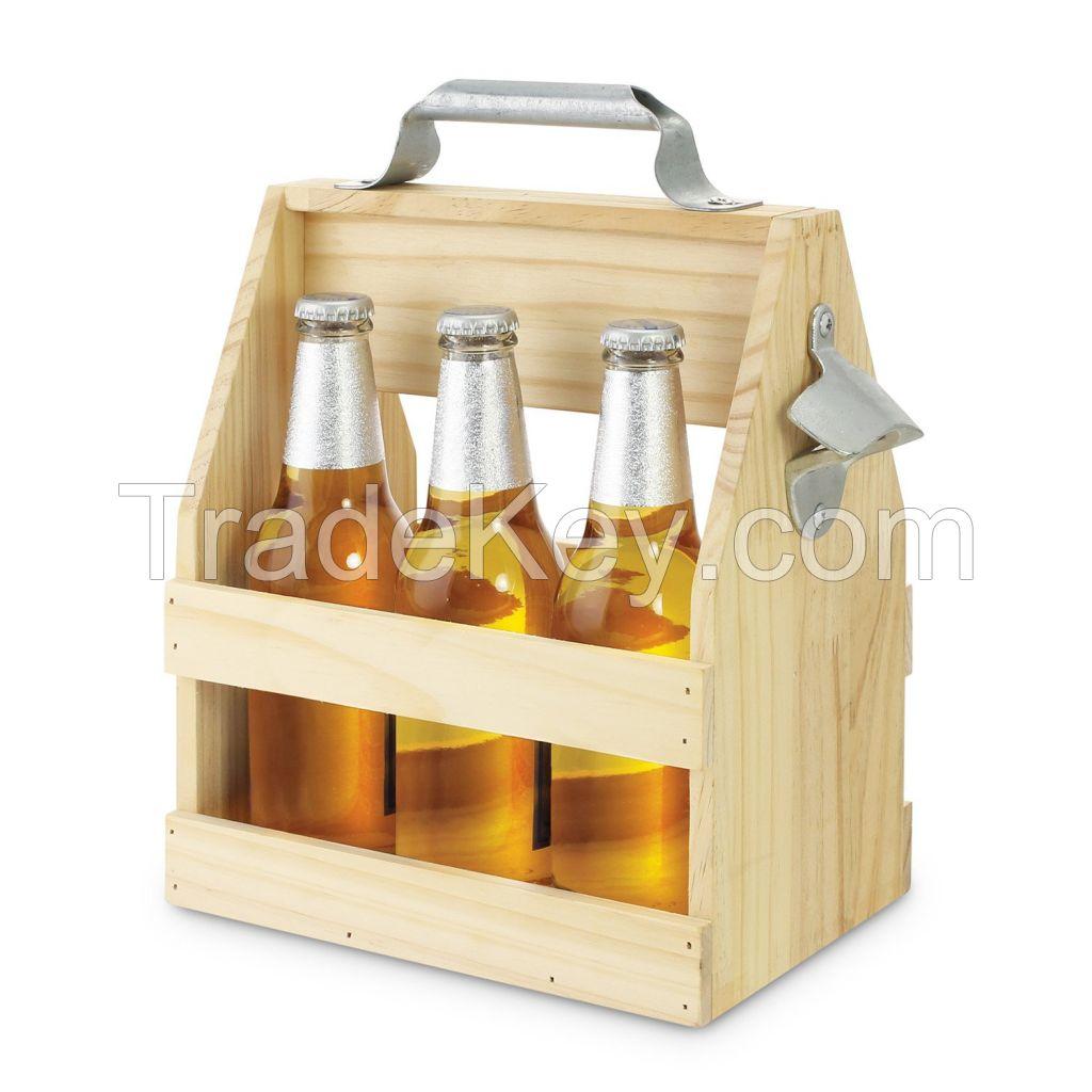 Beer Bottle Carrier with Metal Bottle Opener