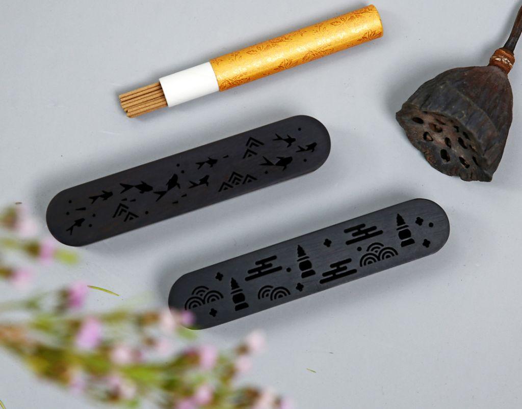 Ebony lying incense burner gift box set agarwood sandalwood incense entry inlay boxwood incense utensils