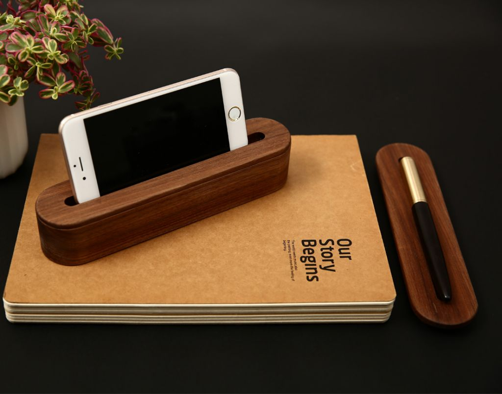 Log Mobile Phone Base Solid Wood Desktop Display Mobile Phone Bracket Name Card Seat