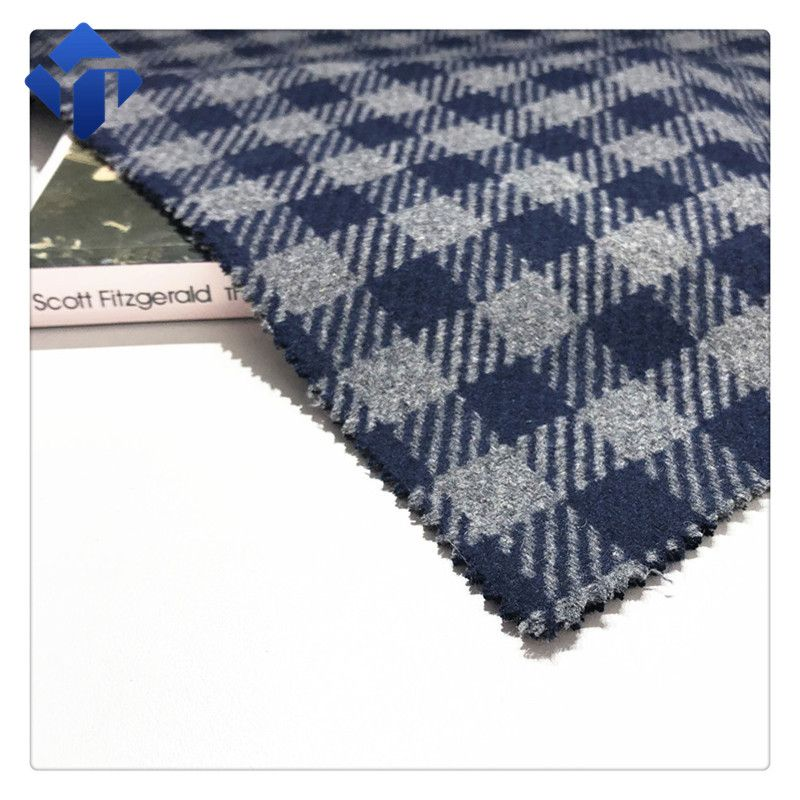 In stock poly wool plaid fabric for women dress