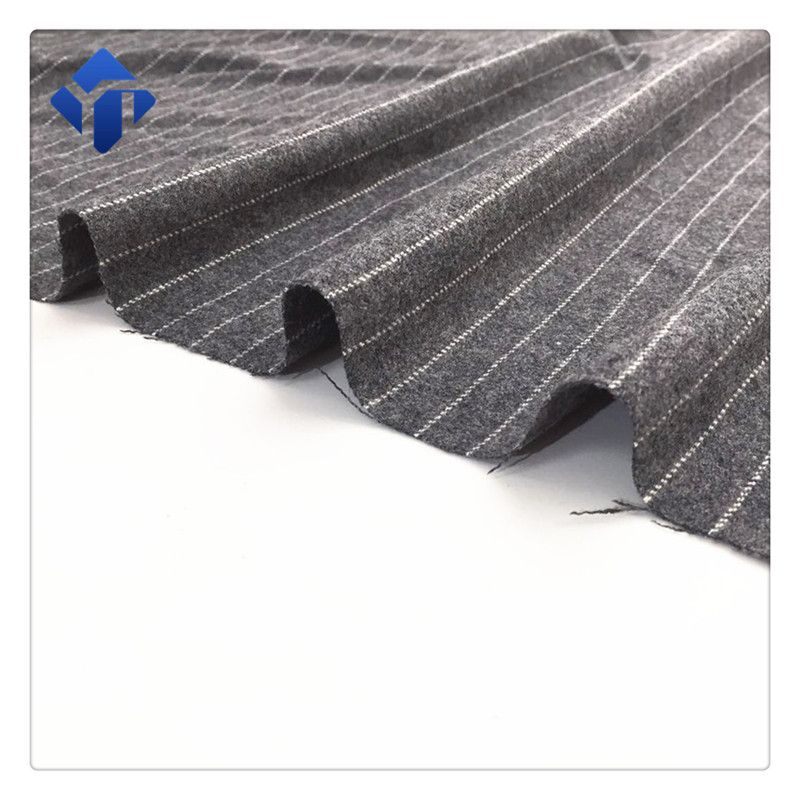 Good quality wool 50% polyester 50% black and white stripe flannel fabric