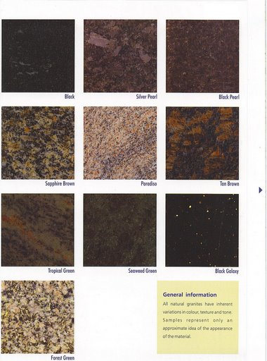 Granite countertops and tiles
