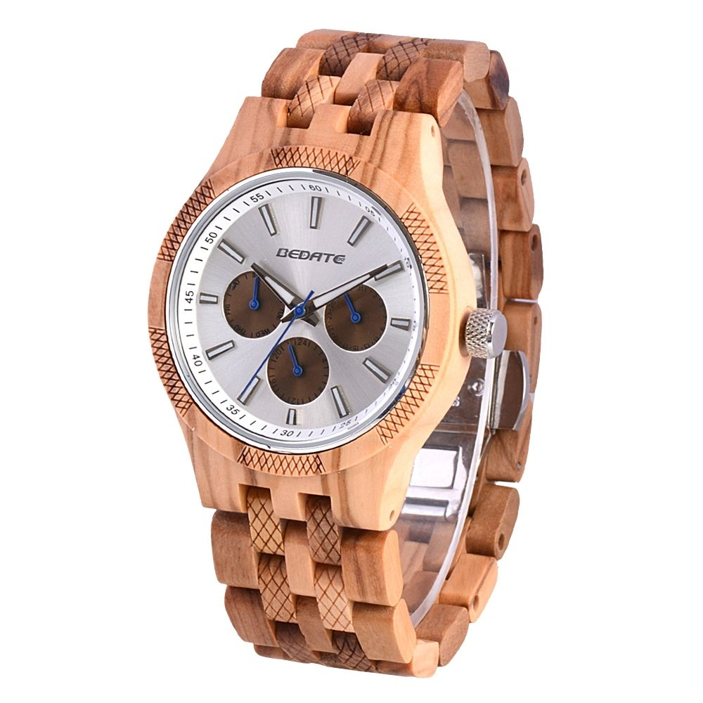 Men's Wooden Watch Luminous With 3 Eyes Butterfly Buckle 3 Atm Water Resistant Japan Movt. Quartz Watch Custom Logo