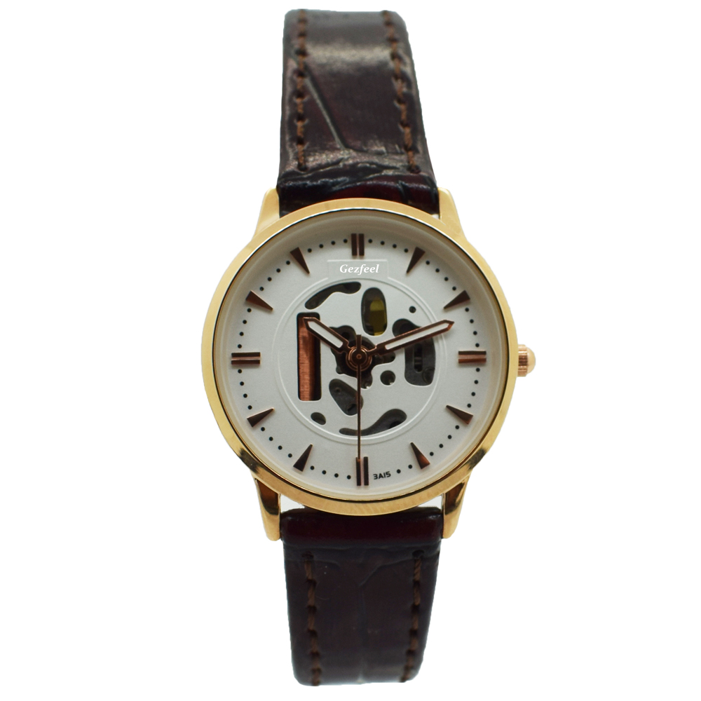 Own Brand Dial Genuine Leather Strap Japan Movement Quartz Stainless Steel Watch