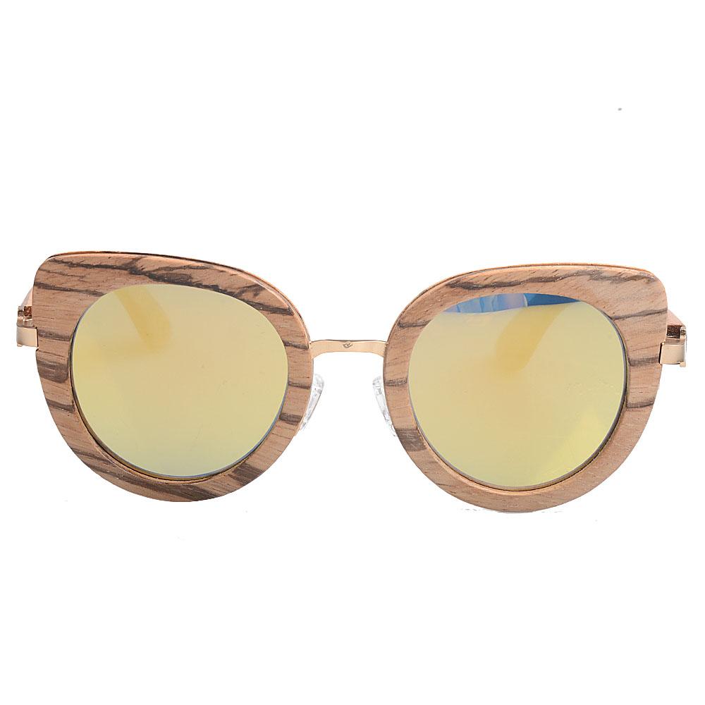 OEM Vintage fancy Colorful bamboo with full metal ring Elegant retro custom logo lady wooden sunglasses
