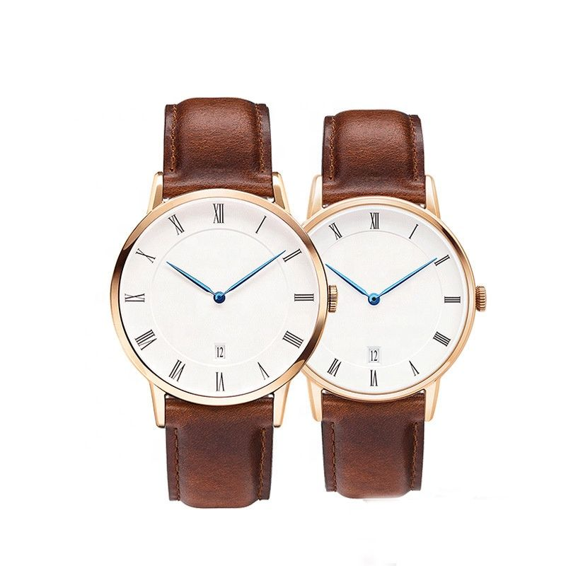 Fashion Classic Couple Lover Stainless Steel DW watch Ronda 763 Quartz Movement Full Grain Leather Strap Watch