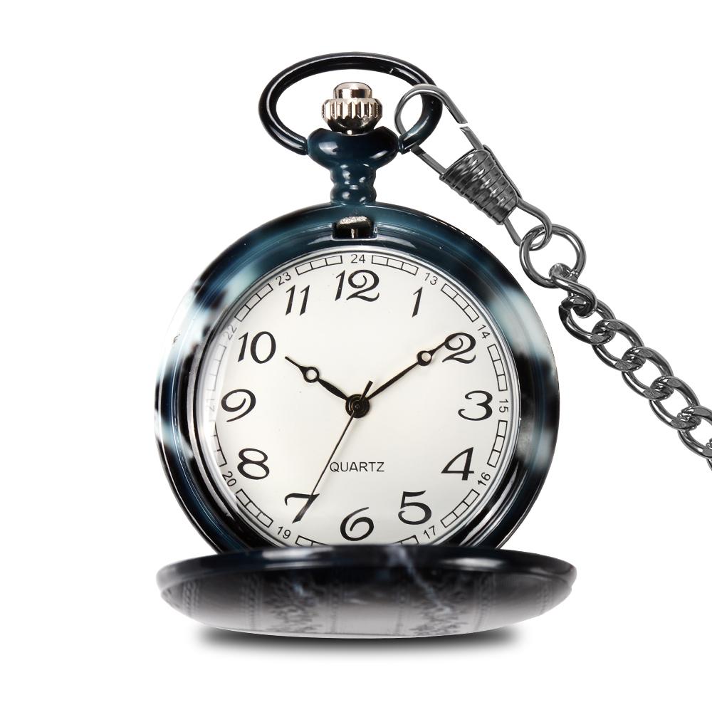 Wholesale ceramic japan movement quartz black pocket watches pendant watch