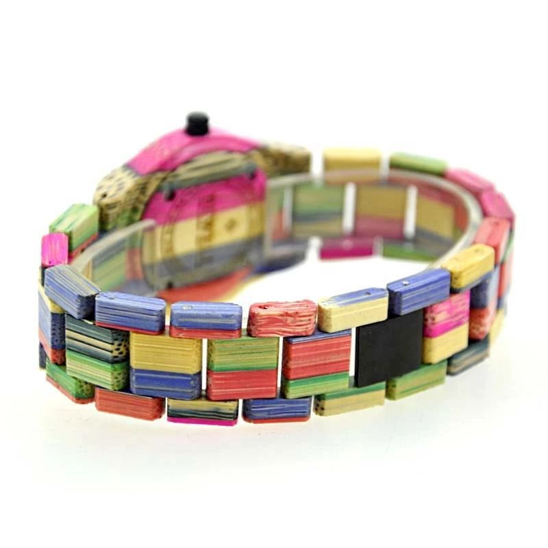 Coloful Bamboo Couple Watch Custom Logo Wooden Wrist Watch With Japan Movt Quartz Watch
