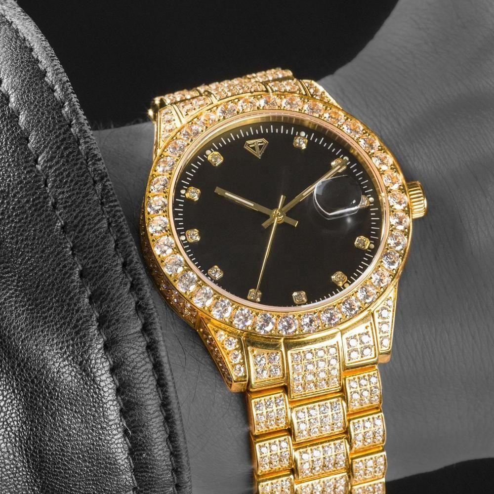 18K Luxury Golden Business Men Watches Sapphire Glass Fashion Diamonds Watch With CNC Czech Diamond