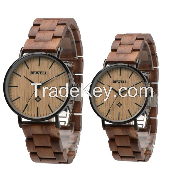 Customized Logo couple size wooden hand Wrist Watch with stainless steel