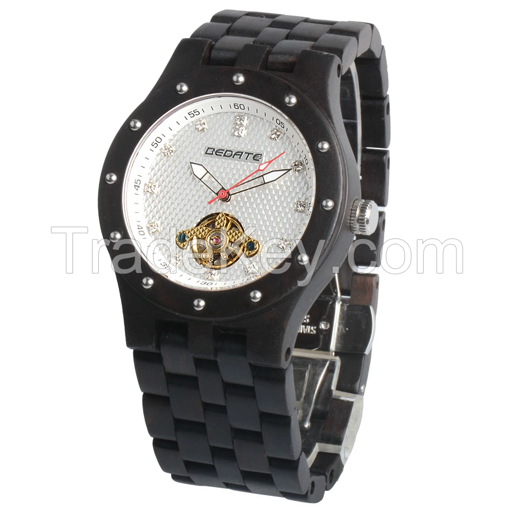 OEM new style Luxury jewelry fashion bewell mechanical automatic skeleton wooden watch