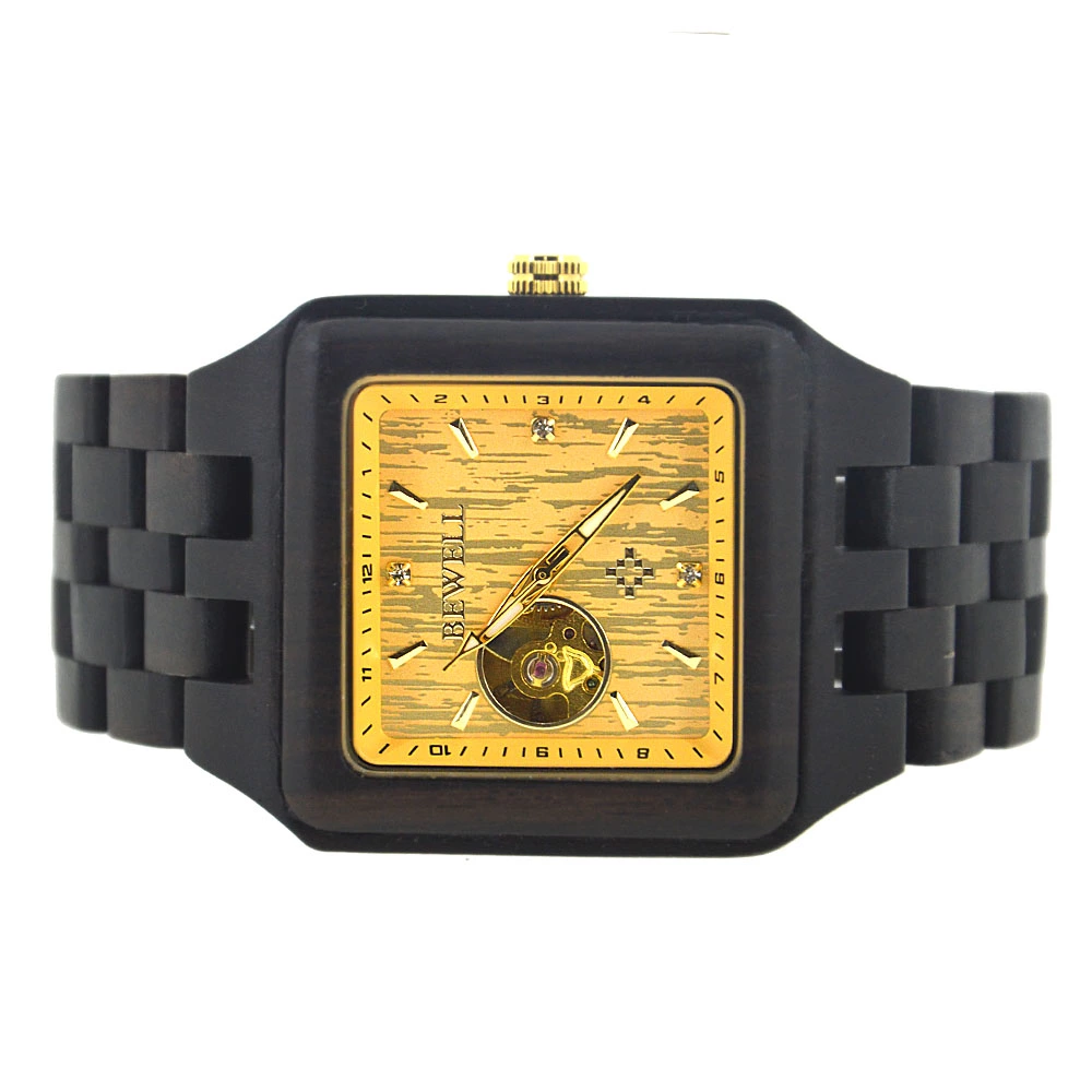 Wholesale Handmade Custom Logo Mechanical Square Eco Friendly Wooden Watches For Men