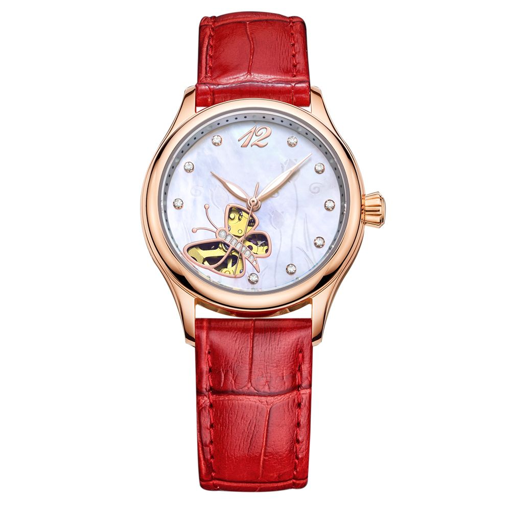 Chinese manufacturer custom stainless steel back mechanical lady watches