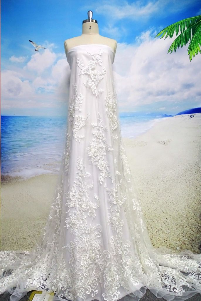 Hot selling/embroidery white lace/ handwork beaded lace fabric for bri
