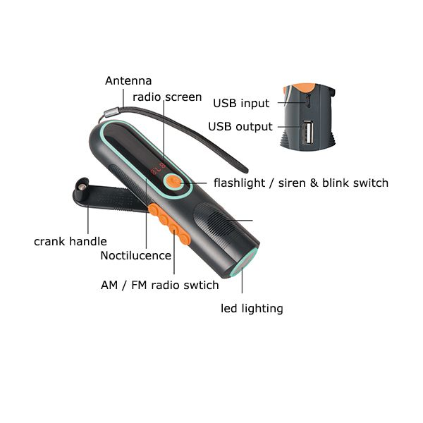 Emergency Dynamo Flashlight Radio With LED Screen and Power bank For Outdoor Use