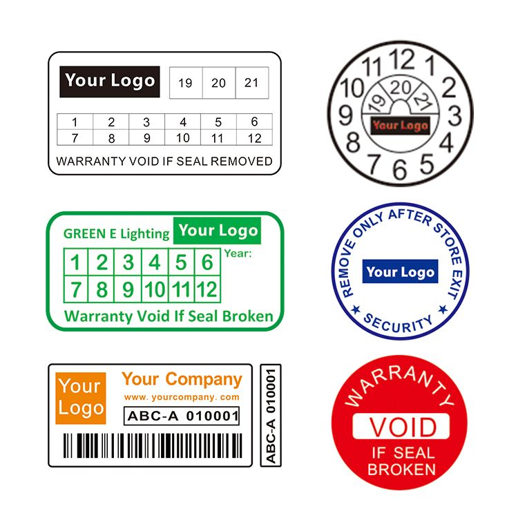 Custom destructible labels protect goods warranty security fragile stickers