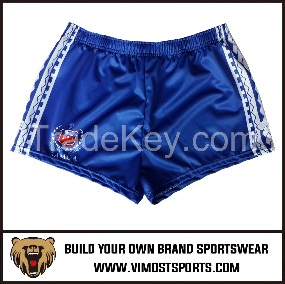 Custom Cheap Polyester And Cotton Own Designs Sublimated Club Rugby Short