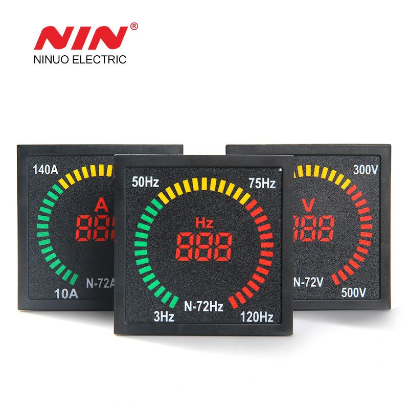AC 220V 72mm*72mm box shape square indicator frequency meter with led light lamp digital frequency