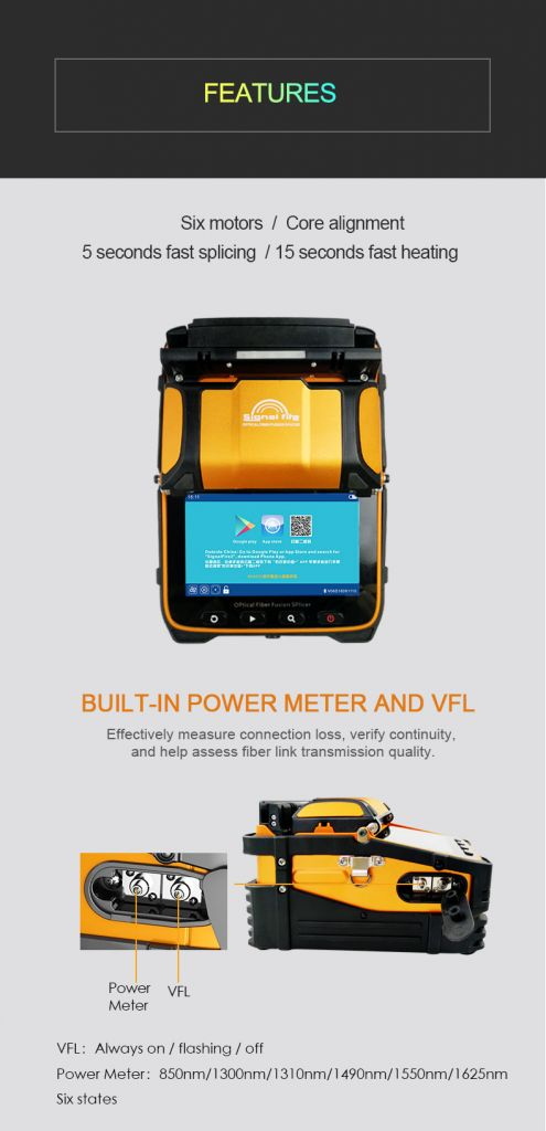 Six Motors AI-9 FTTH Optic Fiber Fusion Splicer Machine Built in Vfl and Optical Power Meter Function