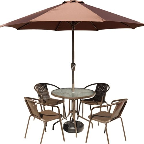Promotion Cheap Wholesale 6pcs Set Imitation Rattan Metal Outdoor Furniture with Umbrella for Coffee Shop / Garden / Hotel / Restaurant from China Furniture Factory