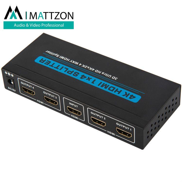 Mattzon V1.4 HDMI 1x4 Splitter 4k30hz, 3D,HDR, EDID support