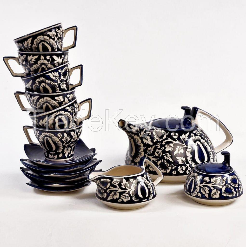 Tea Set in Blue Pottery