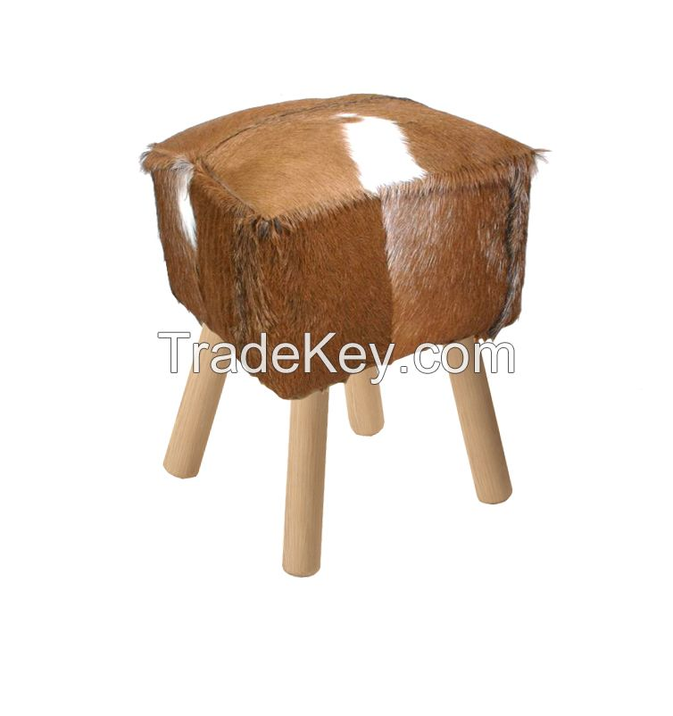 Stool with Goat Skin Leather