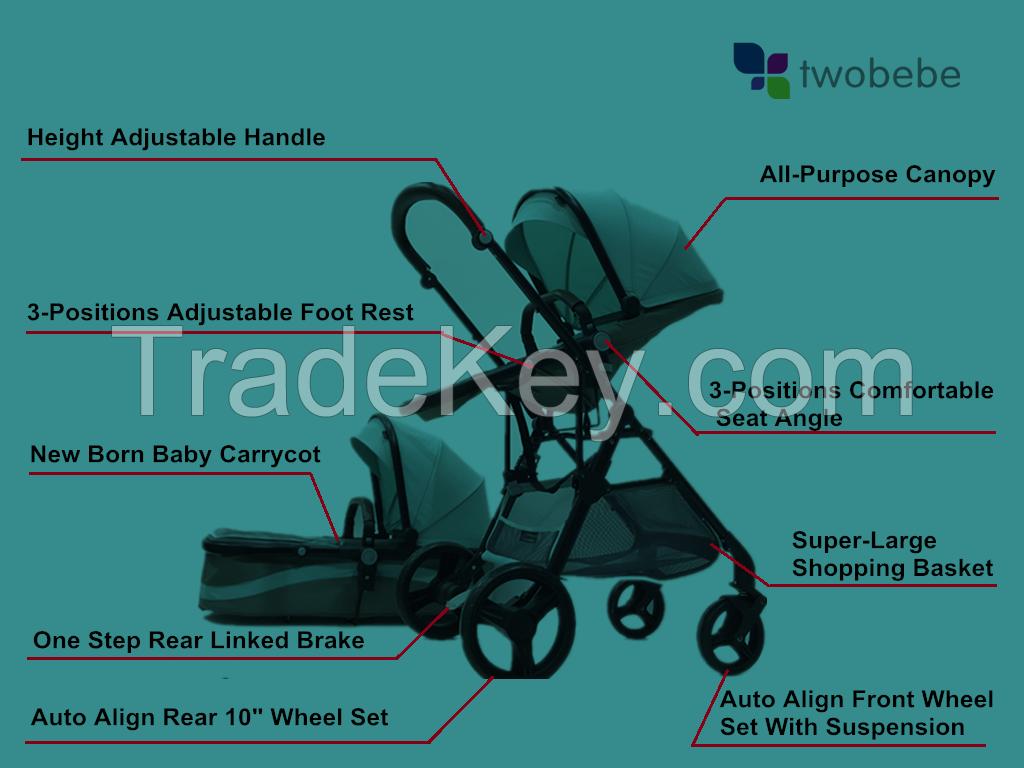 2018 Alibaba newborn travel system baby stroller en1888 / top baby stroller brands / tandem jogging baby pushchair  3 in 1 travel system