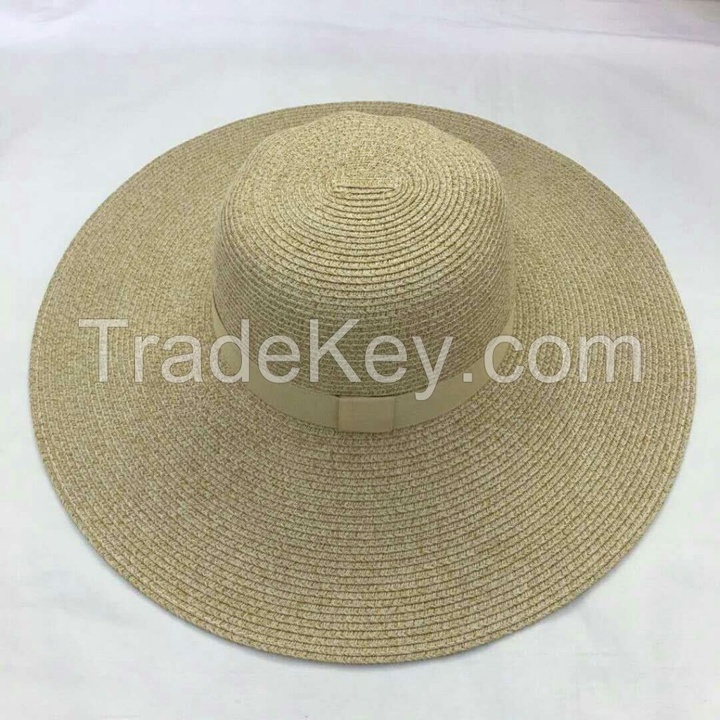 wholeseller fashion lady plain pink straw sun hats, trend women floppy beach hat, elegant paper wide brim hat, recycle customized fashion accessories