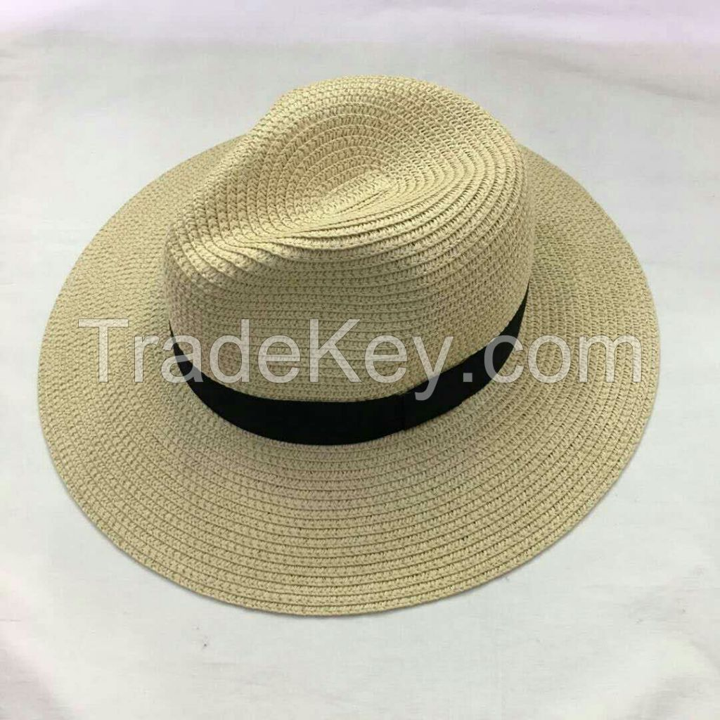 wholeseller fashion panama unisex straw sun hats, trend adult straw beach hat, elegant paper hat, recycle customized fashion accessories