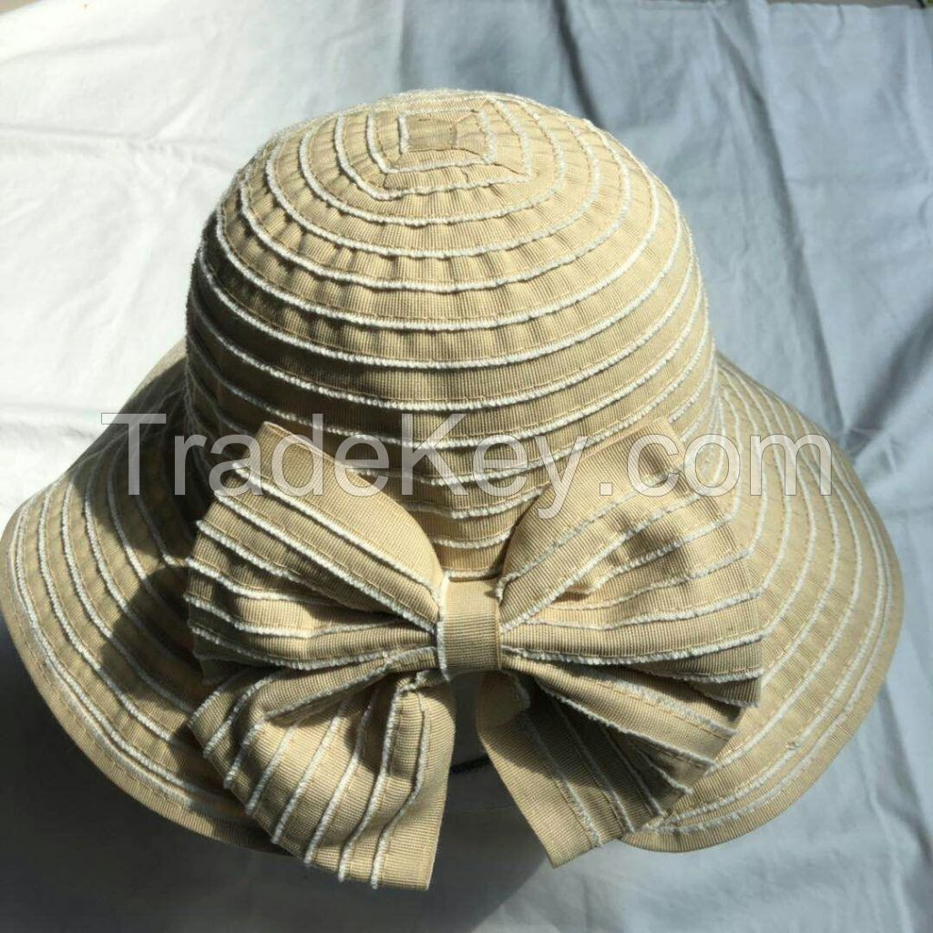 wholeseller fashion striped lady bucket sun hats with bowknot, trend women UV cut beach hat, elegant cotton hat, cheap customized fashion accessories