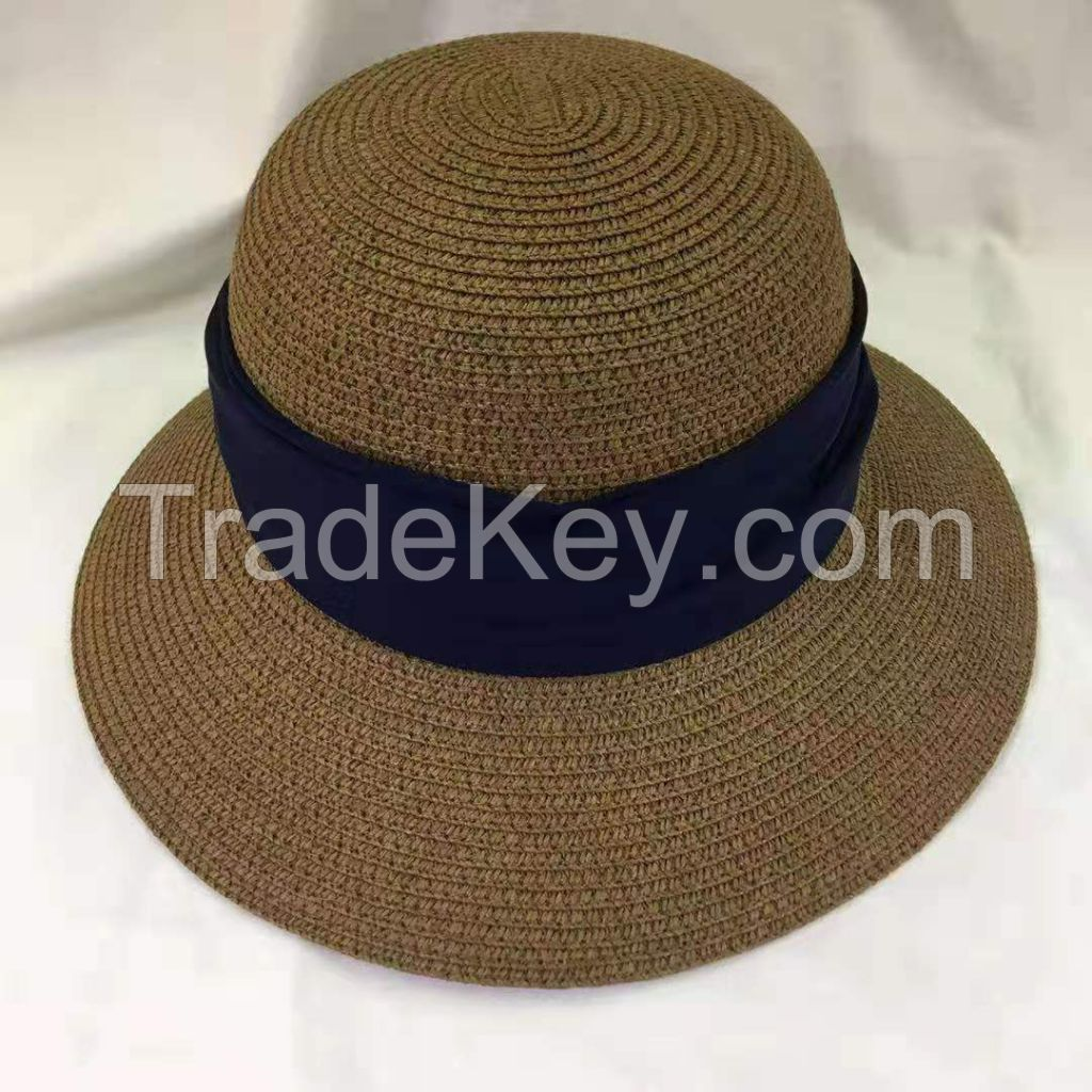 wholeseller fashion lady plain straw sun hats with ribons, trend women beach hat, elegant paper bucket hat, recycle customized fashion accessories