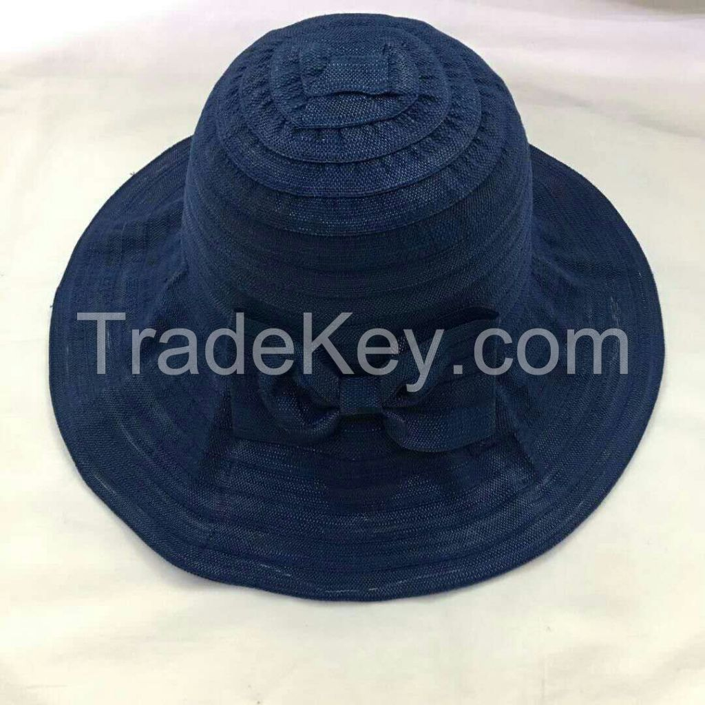 wholeseller fashion plain lady bucket sun hats with bowknot, trend women UV cut beach hat, elegant cotton hat, cheap customized fashion accessories