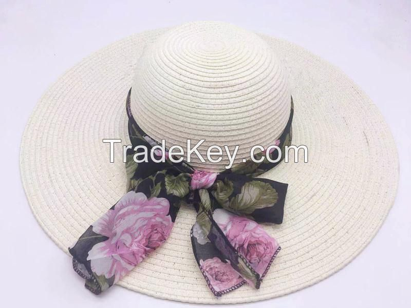 wholeseller fashion lady straw sun hats with silk ribbons, trend cheap women floppy beach hat, elegant paper hat, recycle customized fashion accessories
