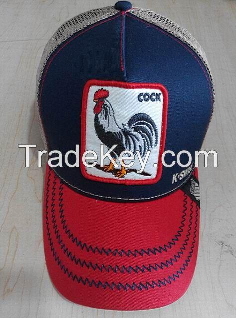 Fashion unisex trucker cap, customized animal embroidry baseball mesh cap,trend adult snakback hat