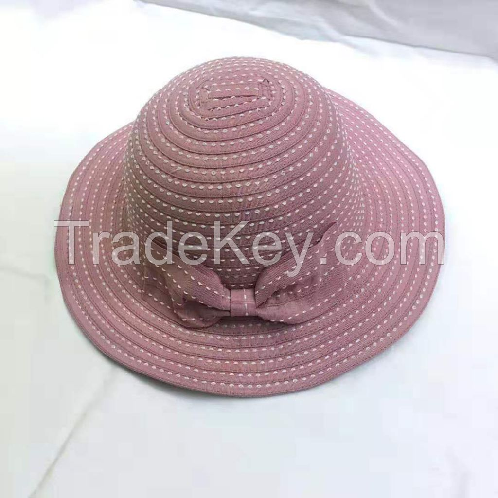 wholeseller fashion striped pinky lady bucket sun hats with bowknot, trend women UV cut beach hat, elegant cotton hat, cheap customized fashion accessories