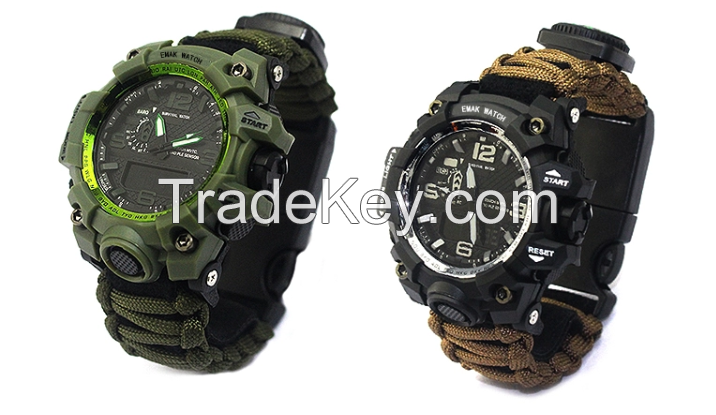 Survival adventure Paracord emergency watch with tactical features in wild
