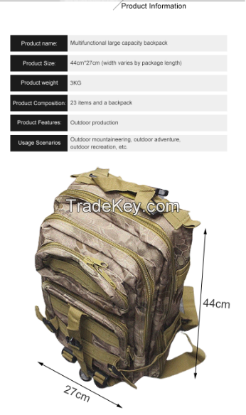 Nautical Outdoor Accessories Tactical survival backpack with gear, Camping Fashion multifunction Earthquake Survival knapsack